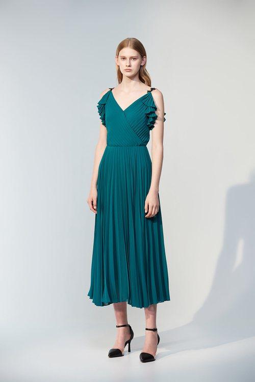 Blue-green chiffon pleated dress