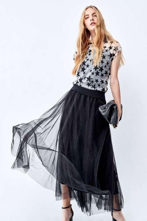Star mesh stitched sleeveless dress.